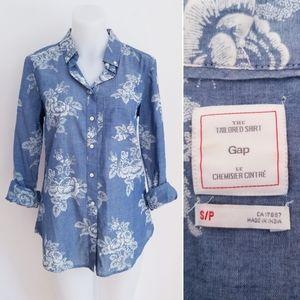 GAP Floral Chambray Tailored Shirt, Small